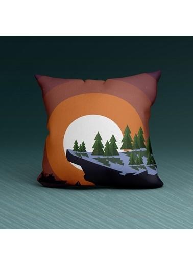 Artikel Çam Ağacı Desenli Dekoratif Çift Taraflı Yastık Kırlent Kılıfı 45x45 cm Renkli